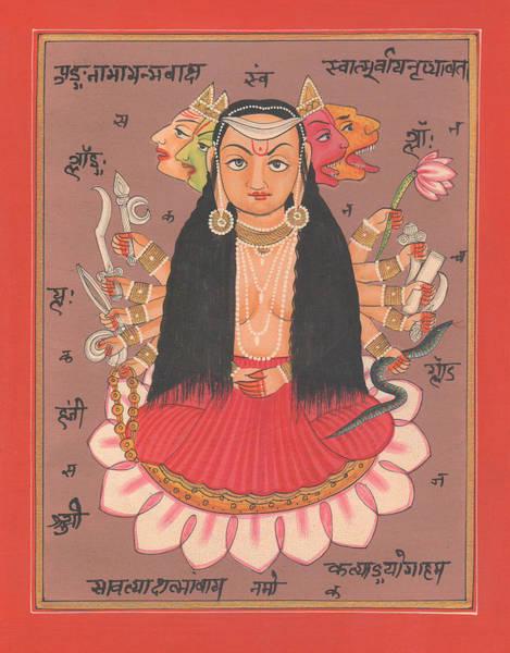 Wall Art - Painting - Hindu Goddess Durga Vishvarupam Miniature Painting Handmade Artwork Artist Art Gallery Water Color I by A K Mundhra