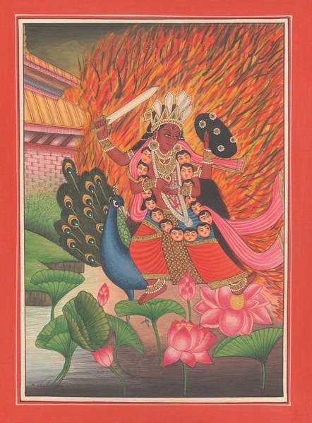 Wall Art - Painting - Hindu Goddess Kali Kalika Miniature Painting India Lotus Artwork Folk Art Yoga Yogi Meditation by A K Mundhra