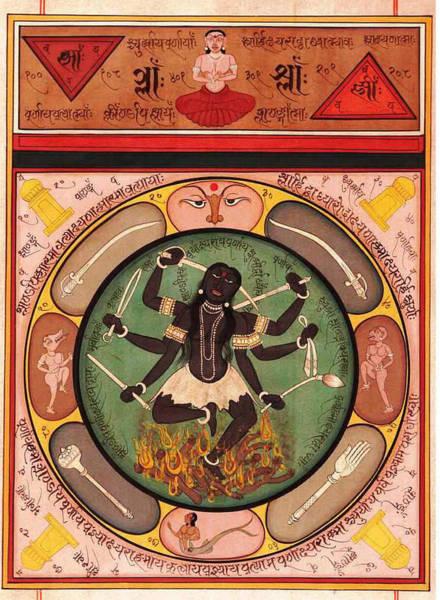 Wall Art - Painting - Hindu Goddess Kali Kalika Vedic Sanskrit Calligraphy Tantra by A K Mundhra