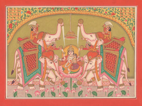 Wall Art - Painting - Hindu Goddess Of Wealth Money Devi Laxmi Elephant  Miniature Painting India Folk Art Traditional  by A K Mundhra