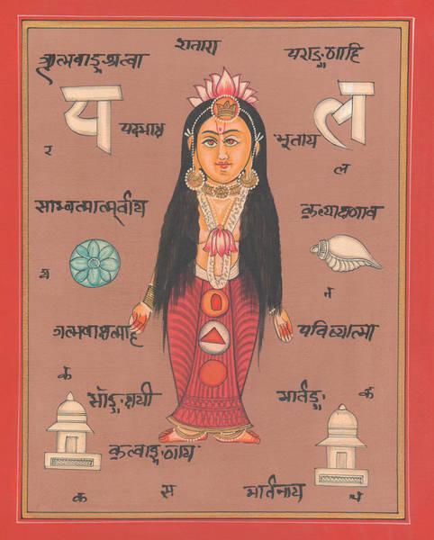 Wall Art - Painting - Hindu Goddess Of Welth Laxmi Artwork Painting Watercolor Germany  by A K Mundhra