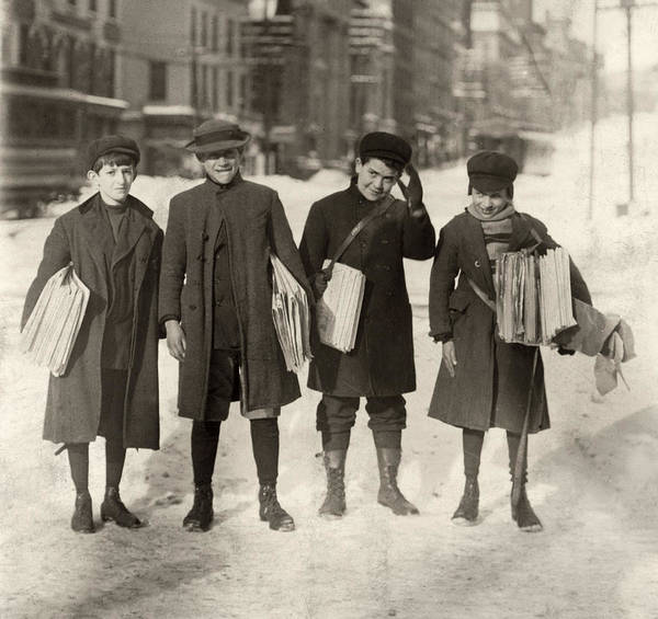 Photograph - Hine Newsboys, 1910 by Granger