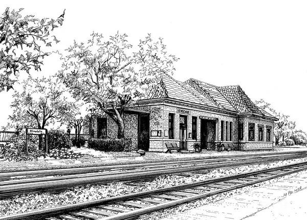 Drawing - Hinsdale Train Station by Mary Palmer