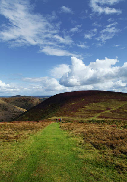 Moorland Photograph - Hiokers On The Track Between Round Hill by Panoramic Images