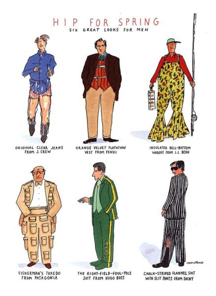 1993 Drawing - Hip For Spring Six Great Looks For Men by Michael Crawford