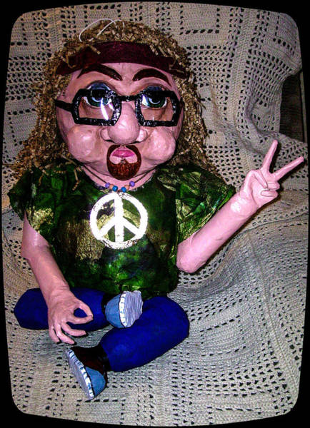 Peace Sign Mixed Media - Hippie Herb Pinata by Jan Wendt