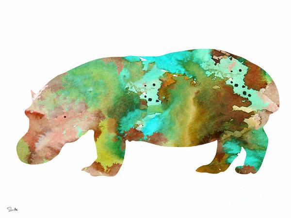 Hippopotamus Painting - Hippo 2 by Watercolor Girl