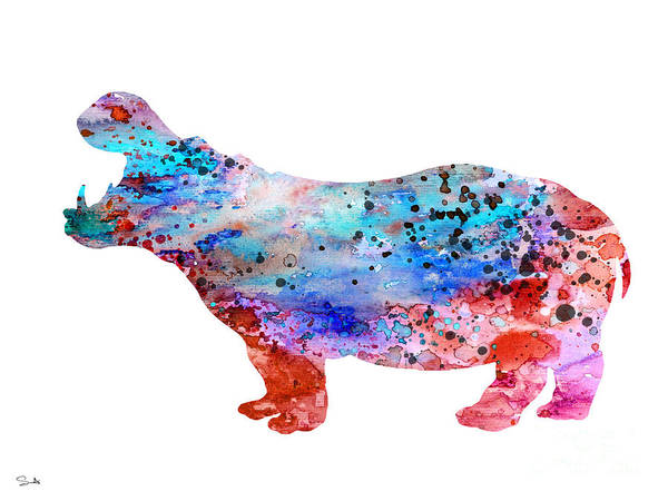 Hippopotamus Painting - Hippo 3 by Watercolor Girl