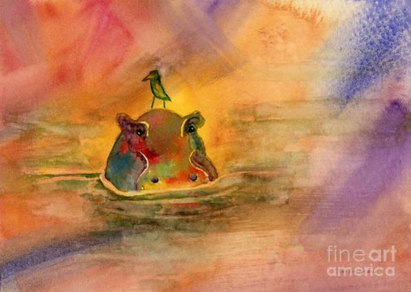 Wall Art - Painting - Hippo Birdie by Amy Kirkpatrick