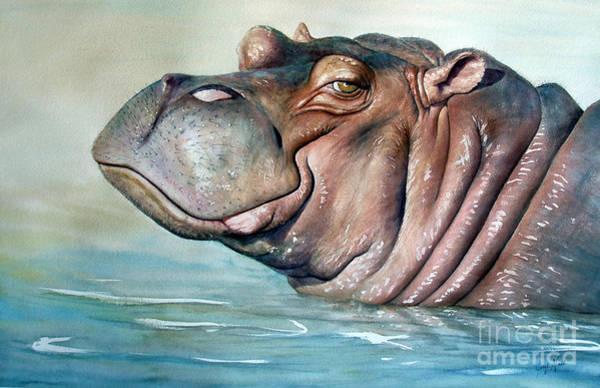Hippopotamus Painting - Hippo Lisa by Joey Nash