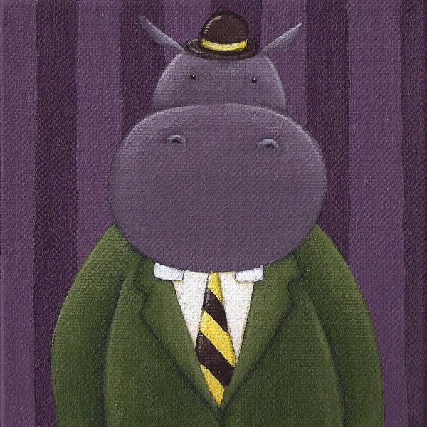 Hippopotamus Painting - Hippo Nursery Art by Christy Beckwith