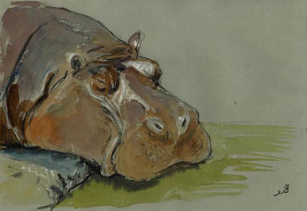 Hippopotamus Painting - Hippo Sleeping by Juan  Bosco