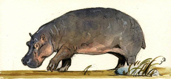 Wall Art - Painting - Hippo Walk by Juan  Bosco