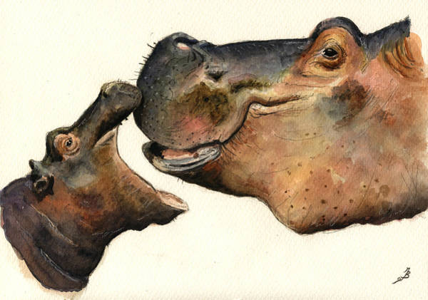 Mom Wall Art - Painting - Hippos Mom And Son by Juan  Bosco