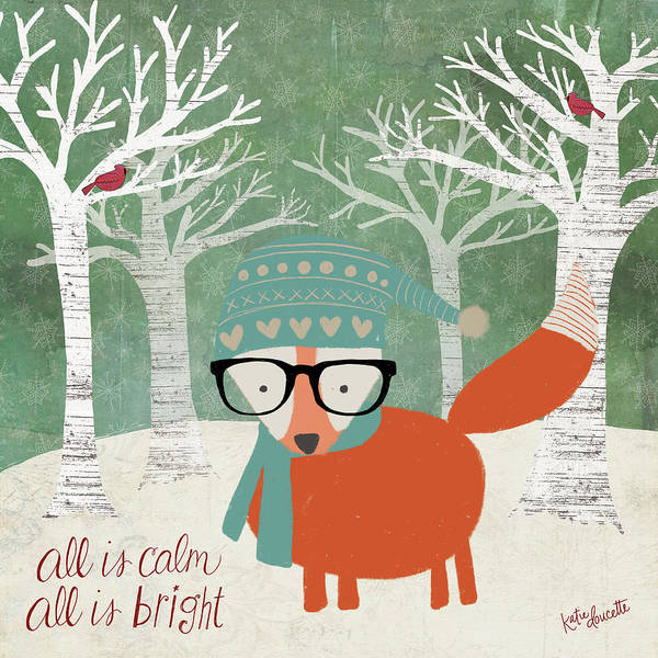 Wall Art - Painting - Hipster Fox Christmas Trees by Katie Doucette