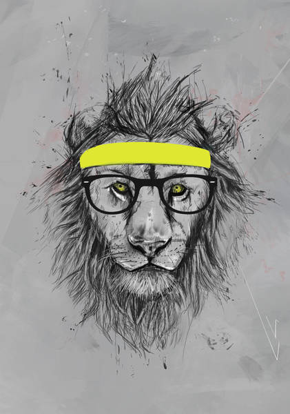 Funny Drawing - Hipster Lion by Balazs Solti