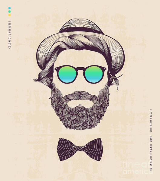 Cool Digital Art - Hipster With Hat And Jazz-bow by Blau Ananas