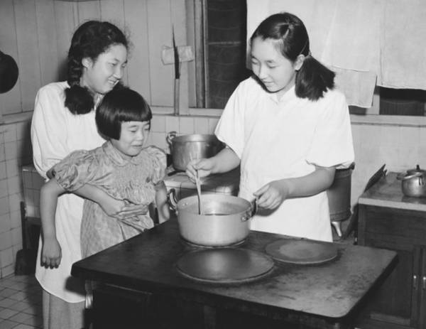 Emperor Photograph - Hirohito's Daughters Cooking by Underwood Archives