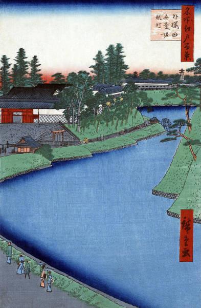 Wall Art - Painting - Hiroshige Benkei Moat, 1856 by Granger