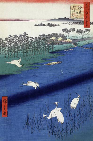 Wall Art - Painting - Hiroshige Herons, 1857 by Granger
