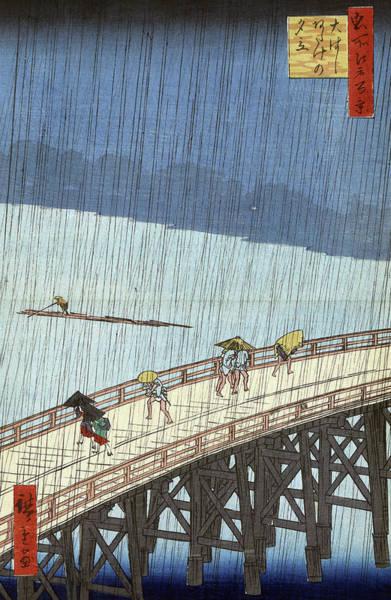 Wall Art - Painting - Hiroshige Rain, 1857 by Granger