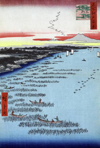 Wall Art - Painting - Hiroshige Samezu, 1857 by Granger