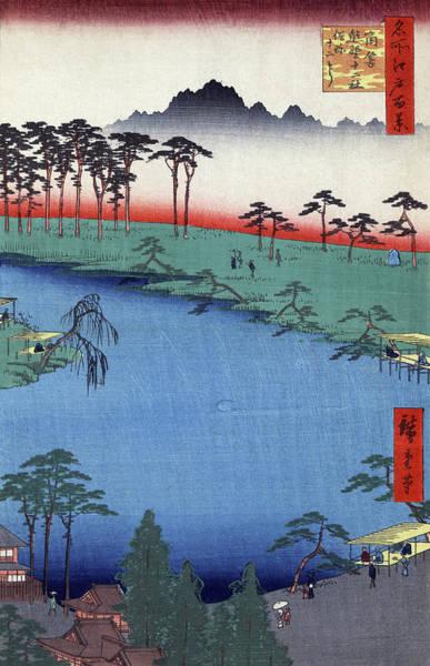 Wall Art - Painting - Hiroshige Shrine, 1856 by Granger