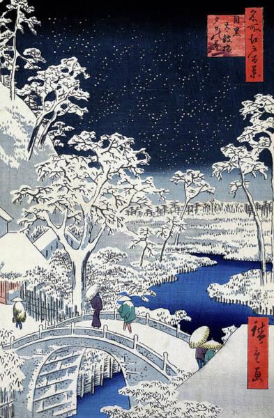 Wall Art - Painting - Hiroshige Snowstorm, 1857 by Granger