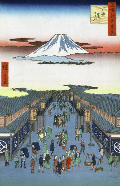 Wall Art - Painting - Hiroshige Street, 1856 by Granger
