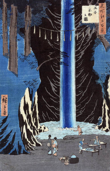 Wall Art - Painting - Hiroshige Waterfall, 1857 by Granger