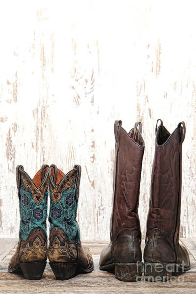 Boot Photograph - His And Hers by Olivier Le Queinec