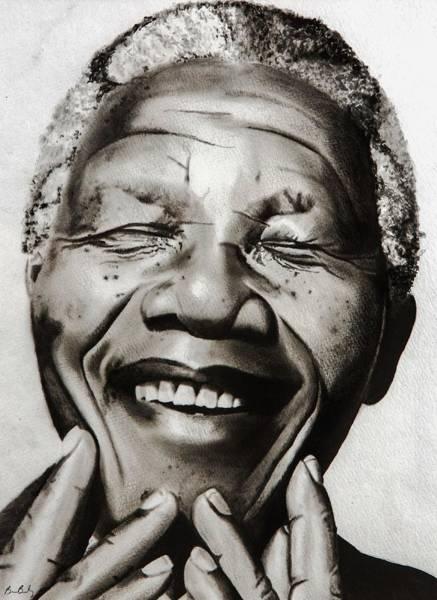 Laughter Wall Art - Painting - His Excellency Nelson Mandela by Brian Broadway