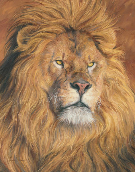 Lions Painting - His Majesty - Detail by Lucie Bilodeau