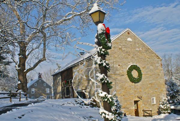 Tulpehocken Creek Photograph - Historic America Gring's Mill Barn Snow Holidays by Blair Seitz