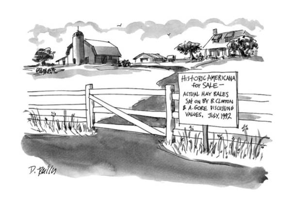 Barn Drawing - Historic Americana For Sale - Actual Hay Bales by Donald Reilly
