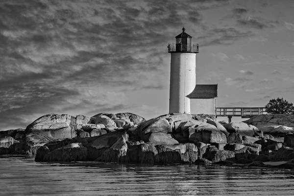 Photograph - Historic Annisquam Harbor Lighthouse Bw by Susan Candelario