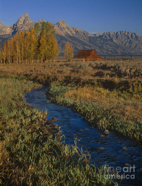 Photograph - Historic Barn By Stream Teton Range Grand Tetons National Park Wyoming by Dave Welling