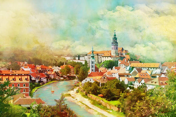 Pilgrimage Painting - Historic Centre Of Cesky Krumlov by Catf