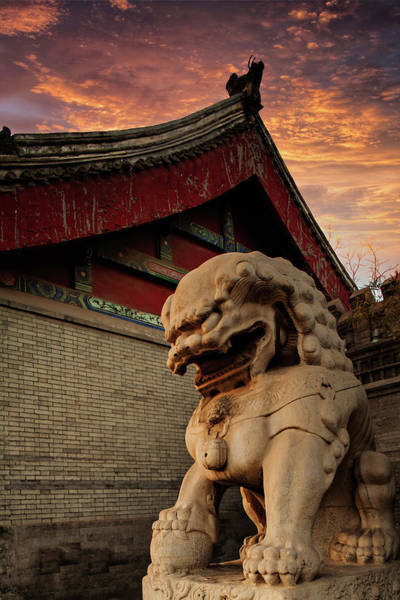 Lion Statue Wall Art - Photograph - Historic Chinese Building With Stone by Czqs2000 / Sts