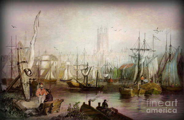 Tides Digital Art - Historic Gloucester - Uk Circa 1840 by Lianne Schneider