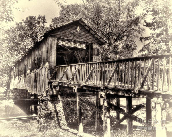 Historic Kymulga Covered Bridge Toned Art Print
