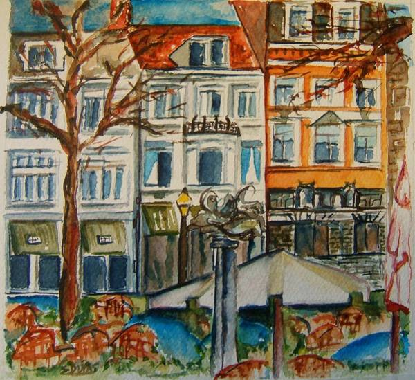 Wall Art - Painting - Historic Maastricht Netherlands by Elaine Duras