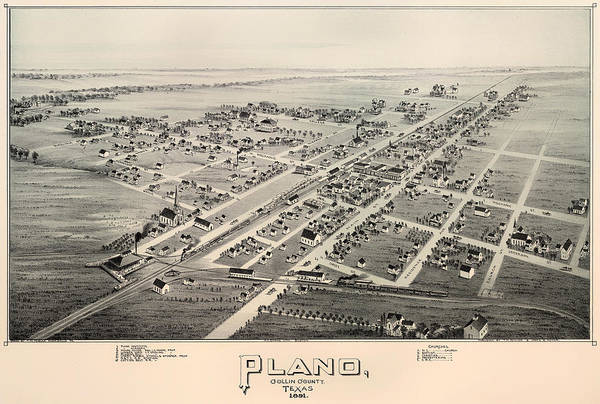 Collectible Art Drawing - Historic Map Of Plano Texas 1891 by Mountain Dreams