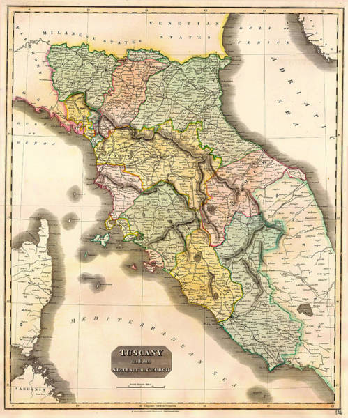 Collectible Art Drawing - Historic Map Of Tuscany 1814 by Mountain Dreams
