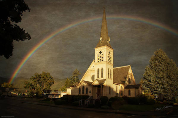 Rogue Valley Photograph - Historic Methodist Church In Rainbow Light by Mick Anderson