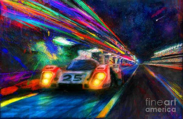 Le Mans Mixed Media - Vics Night Out by Alan Greene