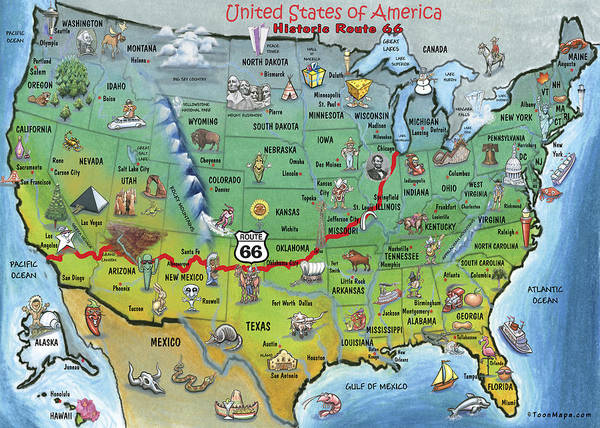 Historic Route 66 Wall Art - Painting - Historic Route 66 Cartoon Map by Kevin Middleton