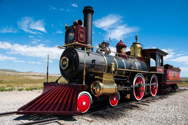 Promontory Point Photograph - Historic Steam Locomotive - Promontory Point by Gary Whitton
