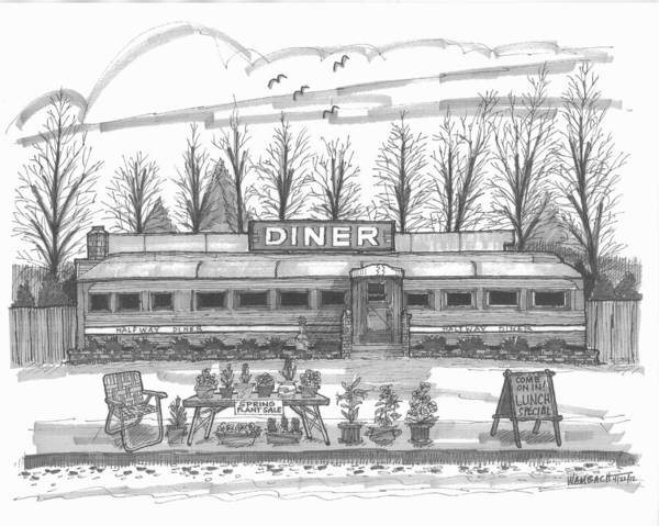 Drawing - Historic Village Diner by Richard Wambach