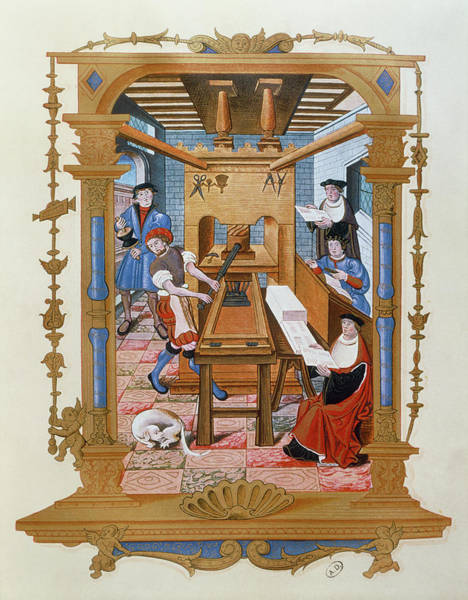 Printing Photograph - Historical Artwork Of 16th Century Printing Press by Jean-loup Charmet/science Photo Library